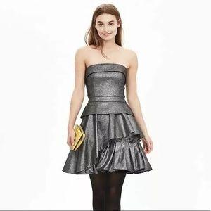 Banana Republic Monogram Strapless Metallic Dress